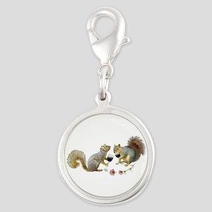 Squirrels Wedding Wine Silver Round Charm