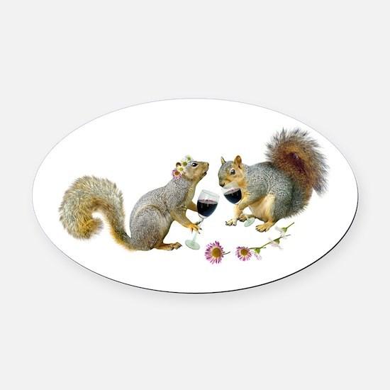 Squirrels Wedding Wine Oval Car Magnet