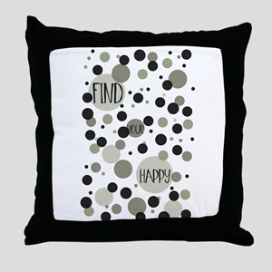 Find Your Happy Gold Black Confetti Throw Pillow