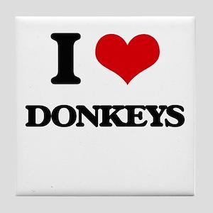 I Love Donkeys Tile Coaster