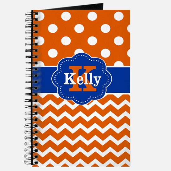 Orange Blue Dots Chevron Personalized Journal