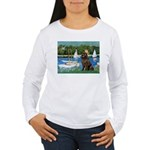 Sailboats & Newfoundland Women's Long Sleeve T-Shi