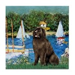 Sailboats & Newfoundland Tile Coaster