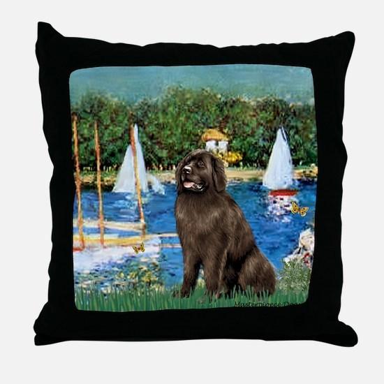 Sailboats & Newfoundland Throw Pillow