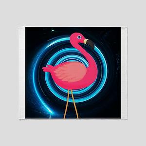 Pink Flamingo on Swirl Throw Blanket
