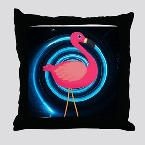 Pink Flamingo on Swirl Throw Pillow