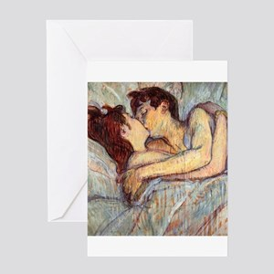 In Bed the Kiss by Toulouse-Lautrec Greeting Cards