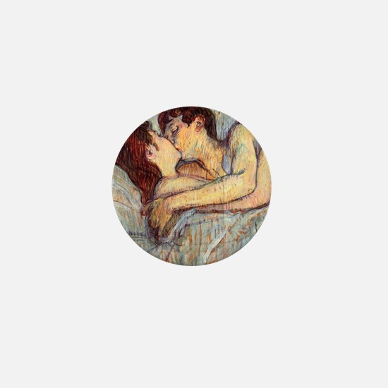In Bed the Kiss by Toulouse-Lautrec Mini Button