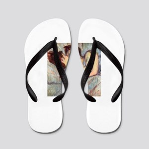 In Bed the Kiss by Toulouse-Lautrec Flip Flops