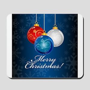 Patriotic Ornaments Merry Christmas Mousepad