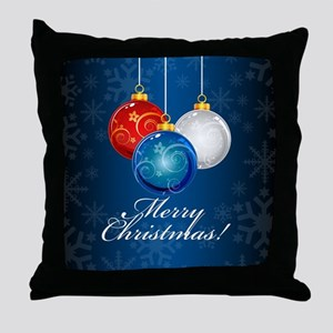 Patriotic Ornaments Merry Christmas Throw Pillow