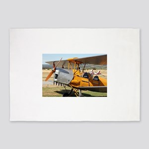 Tiger Moth yellow biplane aircraft 5'x7'Area Rug