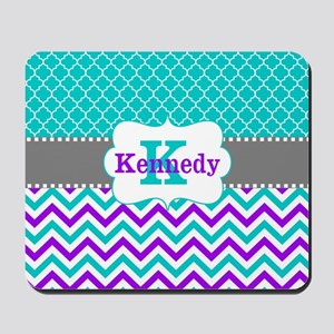 Teal Purple Quatrefoil Chevron Personalized Mousep