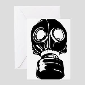 black gas mask greeting cards cafepress
