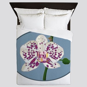 Purple and White Spotted Phalaenopsis Queen Duvet