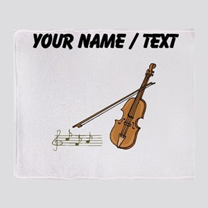 Custom Violin And Musical Notes Throw Blanket