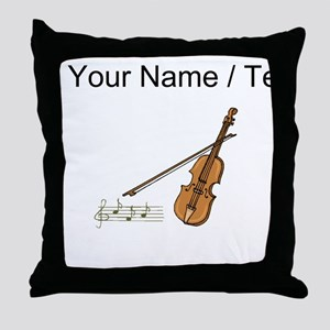 Custom Violin And Musical Notes Throw Pillow