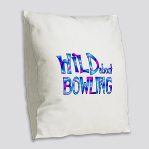 Wild About Bowling Burlap Throw Pillow