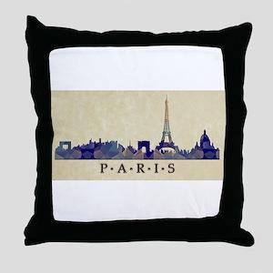 Polygon Mosaic Skyline of Paris Franc Throw Pillow