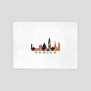 Mosaic Skyline of Venice Italy 5'x7'Area Rug