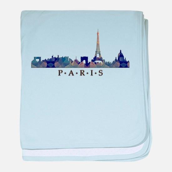 Mosaic Skyline of Paris France baby blanket