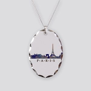 Mosaic Skyline of Paris France Necklace Oval Charm
