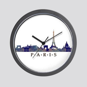 Mosaic Skyline of Paris France Wall Clock