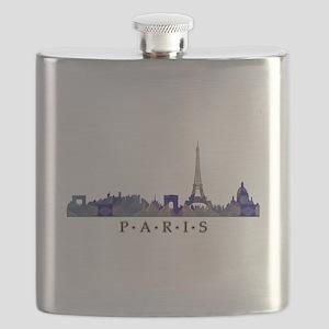 Mosaic Skyline of Paris France Flask