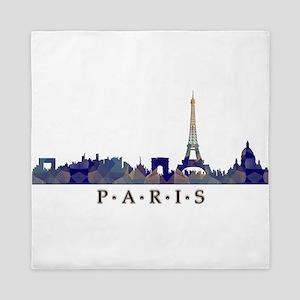 Mosaic Skyline of Paris France Queen Duvet