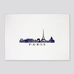 Mosaic Skyline of Paris France 5'x7'Area Rug