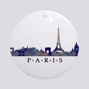 Mosaic Skyline of Paris France Ornament (Round)