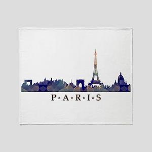 Mosaic Skyline of Paris France Throw Blanket