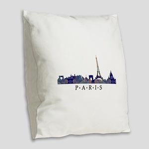 Mosaic Skyline of Paris France Burlap Throw Pillow