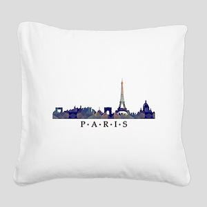 Mosaic Skyline of Paris Franc Square Canvas Pillow