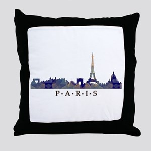 Mosaic Skyline of Paris France Throw Pillow