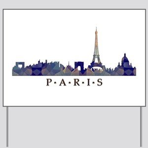 Mosaic Skyline of Paris France Yard Sign