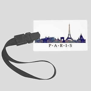 Mosaic Skyline of Paris France Large Luggage Tag