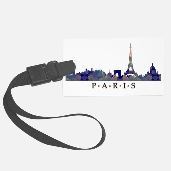 Mosaic Skyline of Paris France Large Luggage Tag