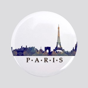 "Mosaic Skyline of Paris France 3.5"" Button"