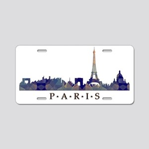 Mosaic Skyline of Paris Fra Aluminum License Plate
