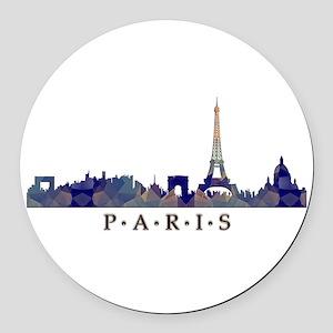 Mosaic Skyline of Paris France Round Car Magnet
