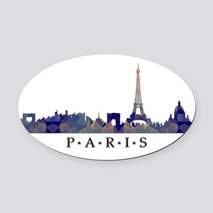 Mosaic Skyline of Paris France Oval Car Magnet