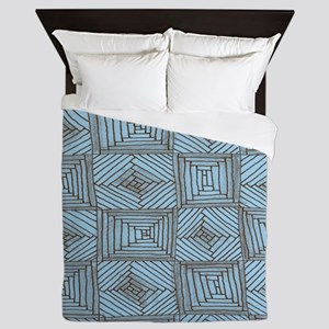 Blue and Brown Rough Squares and Diamo Queen Duvet