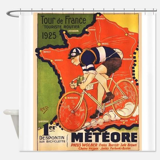 Tour de France Vintage Poster Shower Curtain