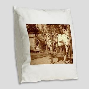 Vintage Burlap Throw Pillow