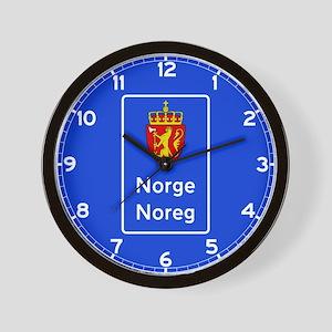 Border Sign, Norway Wall Clock