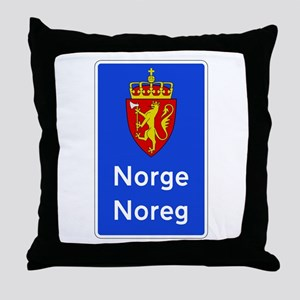 Border Sign, Norway Throw Pillow