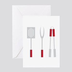 Grill Utensils Greeting Cards