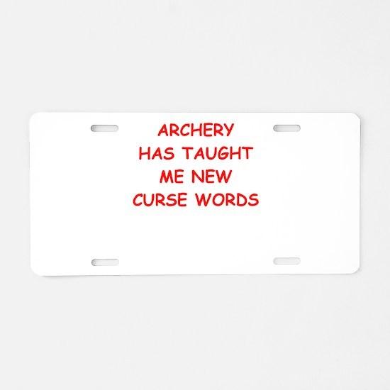 i love archery Aluminum License Plate