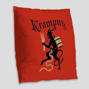 Krampus Burlap Throw Pillow